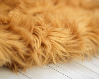 LARGE SIZE 3'x5' Soft Cozy Cuddly Camel Brown Faux Fur Nest Newborn Photography Prop Large Oversize Layer Stuffer Long Pile Faux Flokati