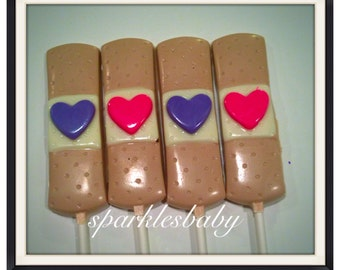 Bandaid, Heart Bandaid Chocolate lollipops - Doc Party Favors