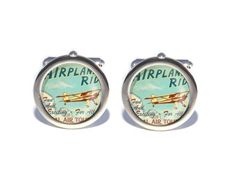 Vintage Airplane Cufflinks, Birthday, Father's Day, Wedding Cufflinks, Anniversary Gifts for Men, Gifts for Dad