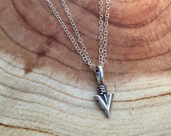 Sterling Silver Arrowhead Necklace, Dainty Silver Arrowhead Charm, Layering Necklace