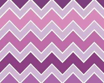 Half Yard Shaded Chevron - Medium Chevron in Grape - Purple Cotton Quilt Fabric - C780-12 - Riley Blake Designs (W2506)