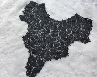 Large Cotton Lace Collar, Black Applique Collar, Lace Crochet Collar, Black Cotton Lace Collar Sewing