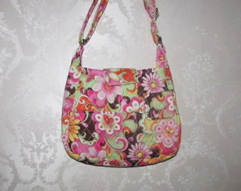 Handmade Quilted Purse,  Modern Bloom Speckle Pink, Handbag, Quilted handbag, 265A