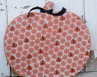 "10"" Rustic Wood Fabric Covered Fall Pumpkin. Fall Decor. Halloween Decor"