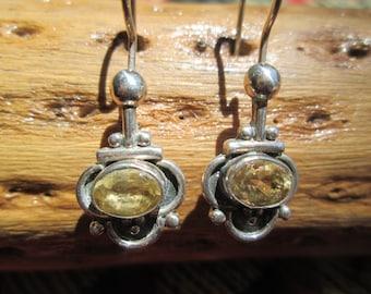 Citrine and Sterling dangle Earrings