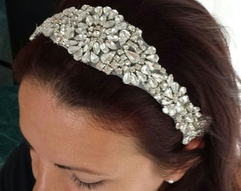 "BRIDAL HAIRBAND - ""AMELIA"" - Rhinestone Headband, Bridal Hair Accessory, Wedding Headband"