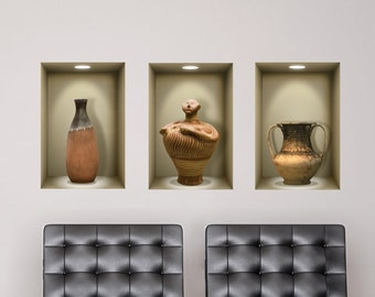 3D niche wall decal ANCIENT VASES, for living room,bedroom,office, 3d decals, 3d wall decals, wall stickers,vinyl stickers