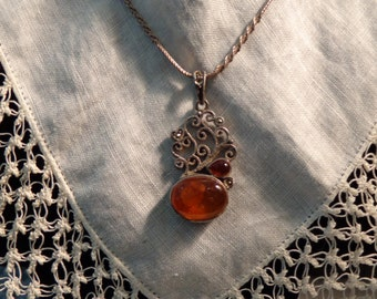 """Sterling Silver and Red & Orange Amber Pendant with 20"""" Sterling Silver Chain"""