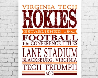 Virginia Tech Hokies Football Typography Poster