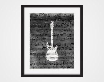 Guitar Art Print, Electric Guitar 5x7, 8X10, 11x14 Rock Band Art, Music Wall Art, Band Member Gift, Guitar Player Gift, Rock Music Art