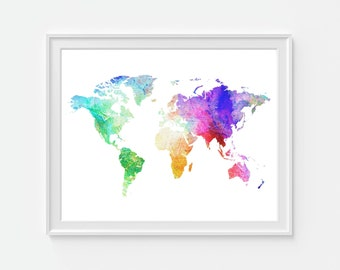 Watercolor World Map Print, Travel Map, World Map, Travel Art, Gift For Friend, Colorful Map, Map of the World, Home Decor, Wall Decor