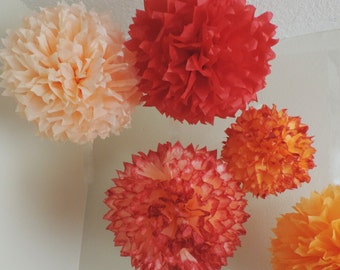 5 Apricot, Peach & Cherry Tissue Paper Pompoms, Peach Party Decor, Apricot poms, Cherry Red and Peach Poms, Peach Bridal Shower, Apricot pom