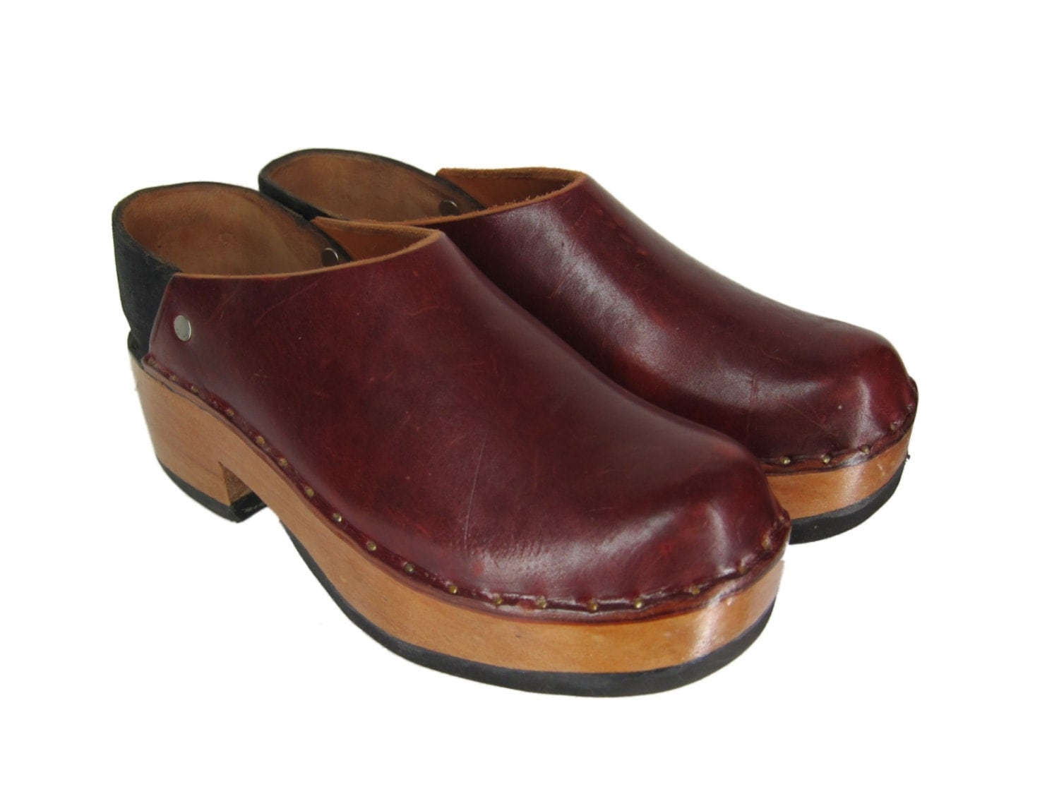 Vintage 70s Clogs Wooden Leather Shoes Oxblood By RoseCtyRetro