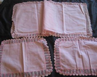 Pink runner and doily set, crochet trim, table runner, dresser runner, shabby farmhouse, chic decor