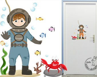 """Wall decal """"Diver"""" Baby nursery underwater historical diver"""
