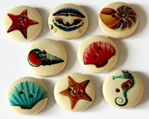 12 Seashell Buttons 20mm - Ocean Buttons - Printed Wood Buttons - Shell Buttons - Seaside Buttons - Beach Novelty Buttons - PW163