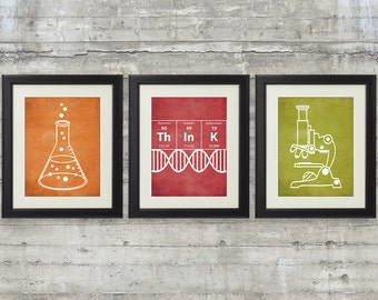 Nerdy Science Art  -  set of 3- 8x10 Prints with Erlenmeyer Flask, DNA, Elements for science themed bedroom or nursery