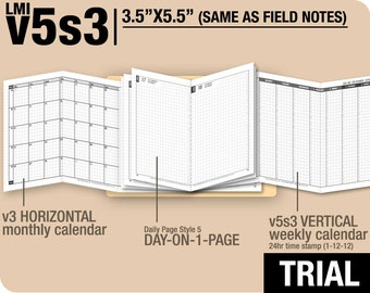 Trial [FIELD NOTES v5s3 w DS5 do1p] November to December 2017 - Midori Travelers Notebook Refills Printable Planner.