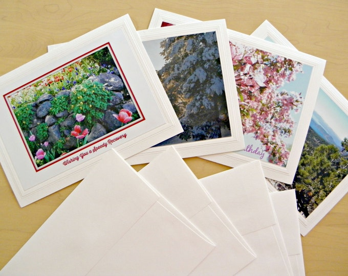"""Assorted ALL OCCASION PHOTO Cards, Handmade by Pam of Pam's Fab Photos, Optional """"Forever"""" Stamps"""