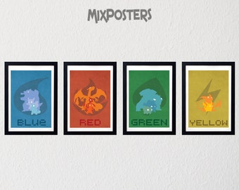 limited pokemon posters minimalist print retro game poster wall art art print