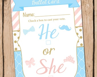 He or She Gender Reveal Party Ballot Card Pink Blue and Gold