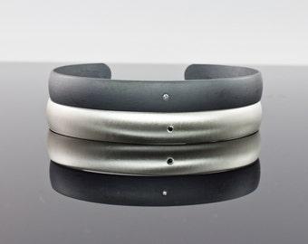 Diamond Cuff Bracelet Set - Black Diamond and White Diamond Sterling Silver Cuff Bracelets - Promise Bracelets - Alternative Wedding Set