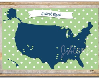 United States Travel Map Print Customizable - 11x17""