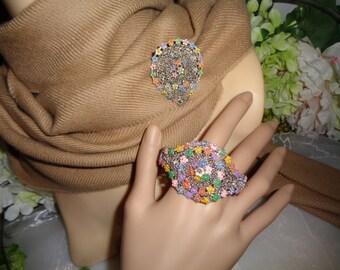 CZECHOSLOVAKIA Signed Both Pieces Hand Painted Enamel Colorful Daisies Antique Bracelet Fur Dress Clip SET