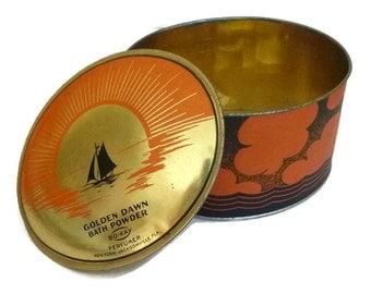 Rare Art Deco POWDER Tin BO-KAY Golden Dawn 1920s Vintage Vanity Bath Sailboat Nautical Beach Sunset Decor Jewelry Trinket Box Orange Black