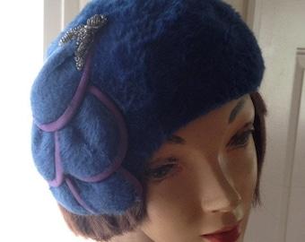 Vintage Blue Faux Fur Hat