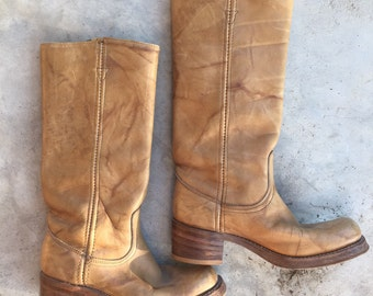 Vintage Wrangler leather campus riding boots boho cowgirl tan leather sz 5M  classic