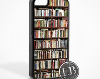 iPhone Case - Book Shelf Vintage Library Bookshelf Books - 4, 4s, 5, 5s, 5c, 6, 6 Plus Cover - id: 26022