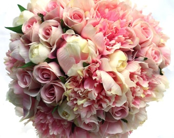 Pink Peony Bouquet with Roses for Bride with Groom's Buttonhole, Bride's Peony Keepsake Bouquet