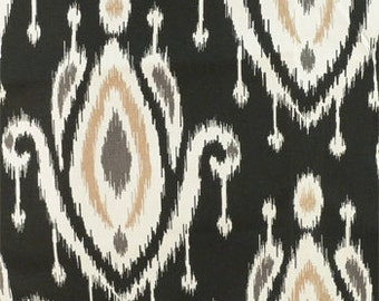 Drapery Fabric, Upholstery Fabric, Black Ikat Fabric, Slip Cover Fabric, Duvet Cover Fabric, Pillow Fabric, Craft/Diy, Fabric Sample
