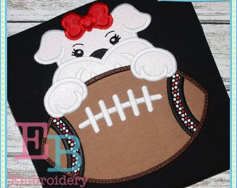 Football Bulldog Girl Mascot Applique - This design is to be used on an embroidery machine. Instant Download