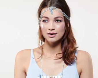 Urban Mermaid Chain Headdress, Chain Headpiece, Alternative Hen Party Headdress, Festival Hair Chain, Bachelorette Party Headpiece