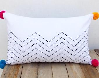 """Chevron white pillow, zig zag embroidery, aztec, geometrical, cotton pillow cover,12""""X20"""""""