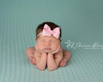 Pink Bow Headband, Mini Bow Headband, Baby Headband, Photo Prop, Pink Headband