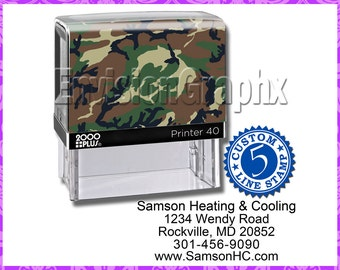 Custom Personalized 5 Line Address Self Inking Rubber Stamp Camouflage Theme