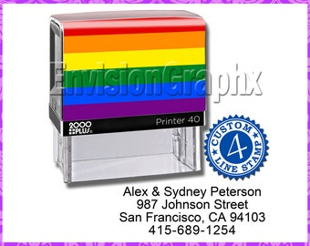 Custom Personalized 4 Line Address / Message Self Inking Rubber Stamp Pride Theme
