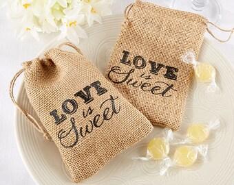 Rustic Wedding Burlap Favor Bags, Love is Sweet (Package of 12)