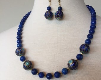 Sale Art Deco Blue jade and cloisonné bead necklace and earrings