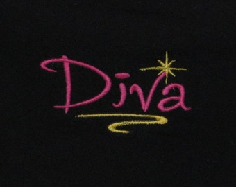 "Embroidery Black t shirt, ""Diva"" fit's 12 mth old, Tee, cotton tshirt, children clothing"