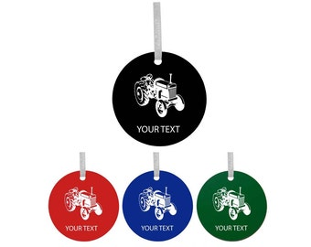 Personalized Custom Old Tractor Colorful Acrylic Christmas Tree Ornament with Ribbon