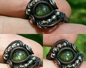 Size 9.25 Tourmaline Cab Wrapped in Oxidized copper with Platinun Plated Bead Accents