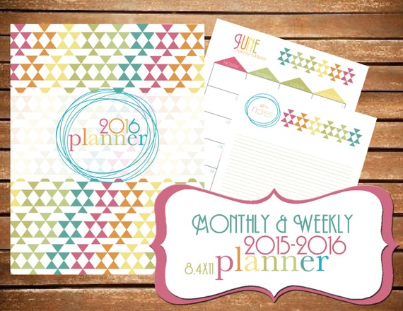 2016 Planner 2016 Organizer - Printable {SIZE LARGE 8.5x11} Instant ...