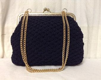 Walborg purse,Made in Italy ,Purse ,bag,Black Knit, Handbag