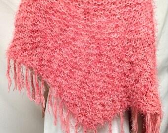 Knit shawl,Pink, Fuzzy Shawl ,Wrap ,Fringed