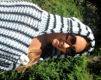 Poncho top,knit poncho,hooded poncho,Large, Hooded, Fringed ,Blue ,White