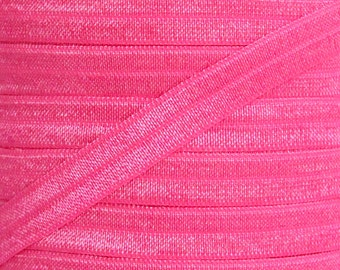 Neon Pink Fold Over Elastic - Elastic For Baby Headbands and Hair Ties - 10 Yards of 3/8 inch FOE